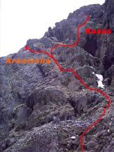 Via Normale Uja di Mondrone - La biforcazione fra i percorsi in arancio e rosso