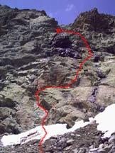 Via Normale Uja di Mondrone - Il tratto fra le rocce rossastre levigate e le rocce nere