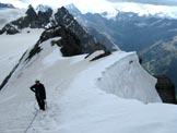 Via Normale Monte Cristallo - Ultimo pendio di neve con cornici