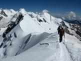 Via Normale Breithorn W (da W) - Cresta di discesa verso la cima centrale