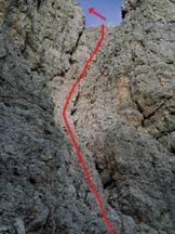 Via Normale Punta Lavina Lunga - Il tracciato della prima parte della via