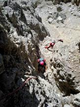 Via Normale Cima Ovest di Lavaredo - Il camino sopra Forcella della Ovest