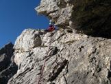 Via Normale Sass d'Ortiga - La cengia a tetto con la sosta alla fine