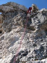 Via Normale Sass d'Ortiga - Calata a corda doppia dalla sosta