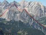 Via Normale Pale del Fop - Il percorso con la discesa in Val Franzedàs, dal Sasso Bianco