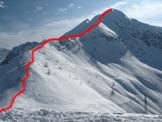 Via Normale Pizzol - La cresta vista dal Passo Manina