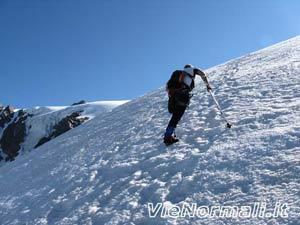 Monte San Matteo - La fine del ripido pendio della seraccata