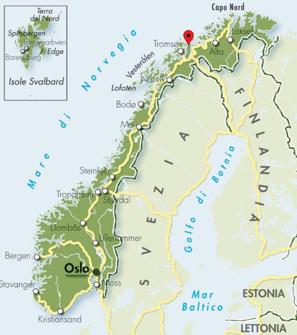 Carta geografica Norvegia