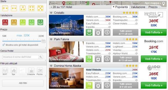 Comparatore di hotel Trivago