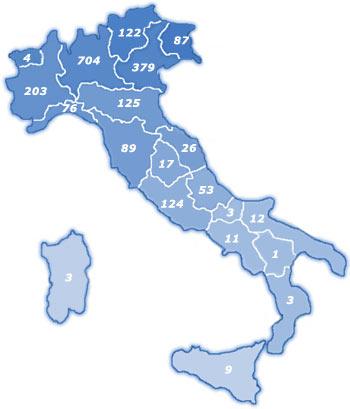 Numero di scalatori iscritti per regione