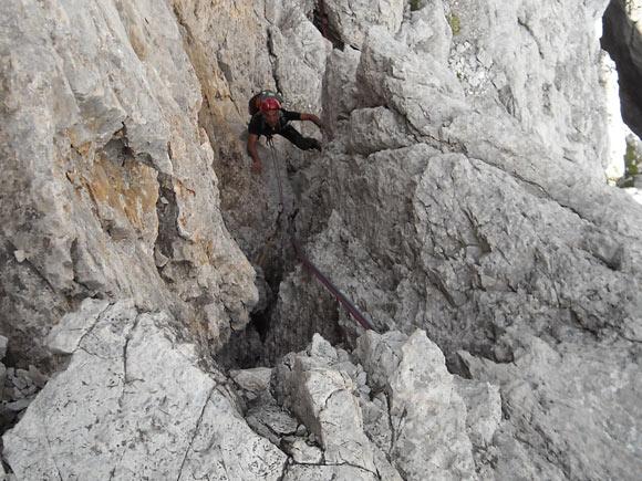 Tratto di arrampicata lungo i camini a Y