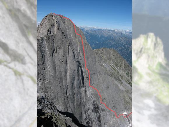 La parete nord-est del Badile con il tracciato della Cassin
