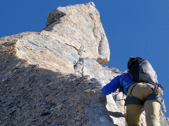 In arrampicata sul fantastico tiro della Schiena di Mulo