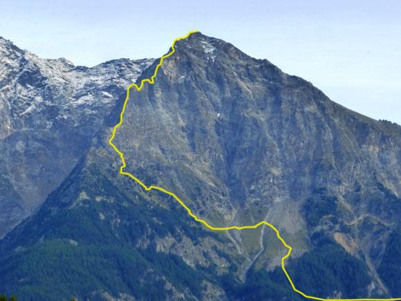 La via di salita lungo la Cresta Nord